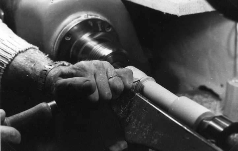 making a recorder: turning the head joint on the lathe