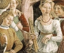 Cossa, The Triumph of Venus (15th century), detail: 2 medieval recorders